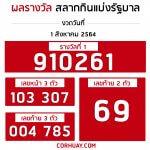 ตรวจหวย 1 สิงหาคม 2564 ผลสลากกินแบ่งรัฐบาล ตรวจรางวัลที่ 1